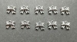 10 x Bow Ribbon Bowknot Charms, Craft Charms, 11 x 10 mm, Jewellery Making, UK