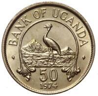 Bank of Uganda - Münze - 50 Cents 1974 - Stempelglanz UNC