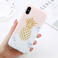 Fashion Cute Cartoon Marble Pineapple Soft Phone Case For iPhone X 8 7 Plus 6 6S