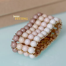 Bracelet Large Golden Mini Pearl Pale Pink Elastic Retro Class Original CT4
