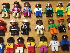 1 lego duplo figure black people mom dad kids family african grandma grandpa