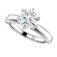 14k White Gold Setting Semi Mount Ring Round Milgrain Engagment Ring Vintage