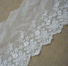 "7"" Wide White Mesh Tulle Lace with Embroidered Flower-Bridal Weding Q0075"