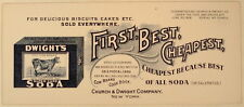 DWIGHT'S SODA COW BRAND CHURCH & DWIGHT NY ADVERTISING BLOTTER 1906
