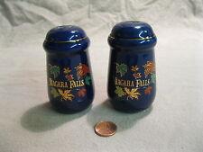 Cobalt Blue Column Pillar Leaf Niagara Falls Souvenir Salt and Pepper Shakers  1