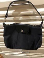 vintage with modern look Lonchamp microfiber and leather trim black purse