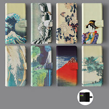 AESTHETIC  HOKUSAI JAPANESE ART GEISHA LANDSCAPE WALLET PHONE CASE FOR IPHONE