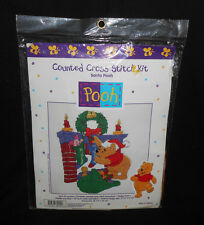 NIP Disney Counted Cross Stitch Kit SANTA POOH Christmas Fireplace Stocking