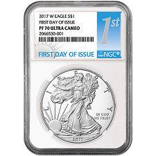 2017 W Silver American Eagle Coin PF70 UC FDI NGC 1st Label