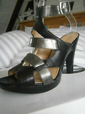 NINE WEST BRAND NEW 5 38 BLACK & METALLIC PLATFORM HEELS SANDALS ANKLE STRAPS