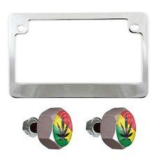 Chrome Motorcycle License Plate Frame & Grey Hex Tag Bolt Kit - Marijuana Leaf