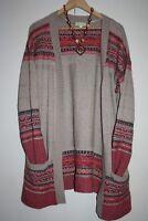 Monsoon L 16-18 open front long cardigan wool cashmere viscose blend fair isle