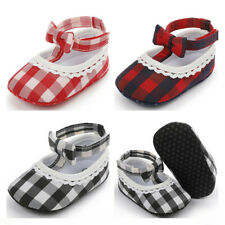 Newborn Baby Girl Checks Crib Shoes Infant Inhouse Crawling Trainers Dress Shoes