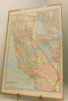 ORIGINAL ANTIQUE MAP 1890'S USA CALIFORNIA GEORGE CRAM PUBLISHER OVERALL SIZE 14