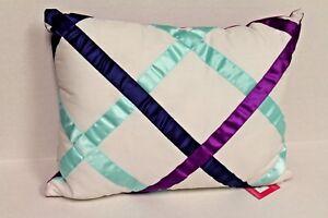 Candie's Chevron Wave Decorative Pillow for Bedroom Purple Aqua Rectangle NEW