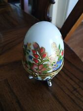 Hand Painted Porcelain Footed Hinged Trinket Box Egg. Floral Diamond Motif 41N