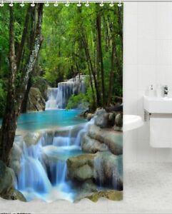 Shower Curtain Waterfalls Nature Scenery Design Waterproof Fabric 72 inch