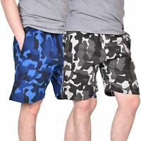 Men Camo Shorts Summer Fleece Camouflage Elasticated Waist Beach Running Jogging