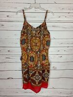 Umgee USA Boutique Women's L Large Brown Red Boho Sleeveless Pockets Fall Dress