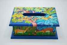 Hand Painted Wood Small Tissue Box From Bolivia Forest Animals Signed Arte Campo
