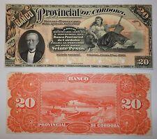 ARGENTINA PROOF CORDOBA  $20 1889  UNC  P.s744p1  BAUMAN COR-119s