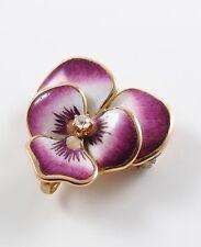 14k Gold Art Nouveau Crane & Theurer Enamel & Diamond Pansy Brooch Watch Pin