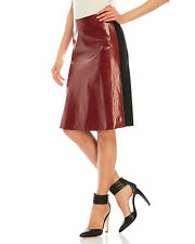 JONATHAN SAUNDERS $1100 dark red faux leather front black pencil skirt 38-FR NEW