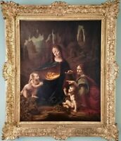 Da Vinci Italian Renaissance Old Master Madonna Saint Large Antique Oil Painting