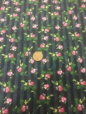 100% Cotton quilting craft Fabric Cambridge Ro Gregg Pink Floral & Black Stripes