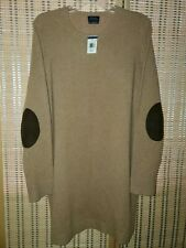 NWT! Women's Polo Ralph Lauren Wool Cashmere Suede Elbow Patch Sweater Dress XL!