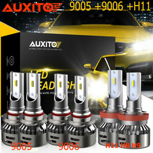 AUXITO 9005 9006 H11 LED Combo Headlight High Low Beam Bulb White Fog Light Kit