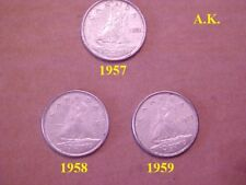 Canadian 10 Cent Coins:1957 1958 1959
