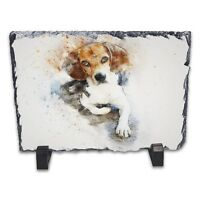 Beagle Watercolour Abstract Art Rock Slate Photo Frame - Rectangle