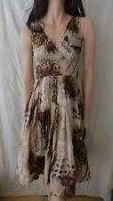 FORCAST Brown Cotton Pleated Summer Dress Sz 8
