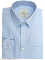 New Mens Ex M&S Light Sky-Blue Cotton Blend Long Sleeve Office Shirt Size 15-18