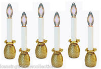 BRASS PINEAPPLE ELECTRIC WINDOW CANDLESTICK LAMPS - SET OF SIX