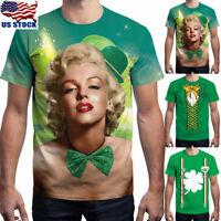 St Patrick's Day Men Women 3D Print Round Neck Short Sleeve Tops T Shirt Blouse