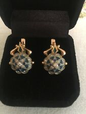 Vintage Russian rose gold and White Diamonds With 8pcs  sapphire earrings.