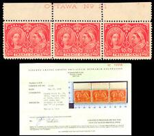 Canada 59, 59iii Re-entry Imprint Strip of Three H/NH Cert Cat $3150 Stuart Katz