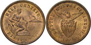 1904 US/Philippines Half 1/2 Centavo ~ UNC Details ~ Allen#1.02 ~ MX922