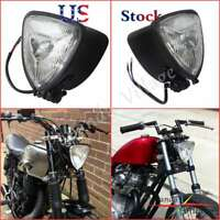 Triangle Black Motorcycle Headlight For Harley Chopper Bobber Cafe Racer Retro