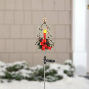 Solar LED Lighted Nostalgic Red Candle Christmas Tree Garden Stake