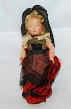 """VINTAGE CELLULOID 4"""" GERMAN CATHOLIC JOINTED DOLL WITH CROSS NECKLACE"""