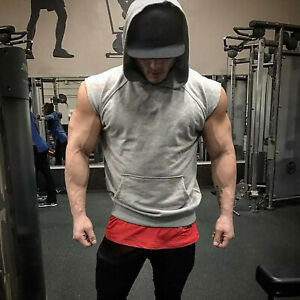 Men's Thick Bodybuilding Sleeveless Hoodies Gym Workout Hooded Tank Tops