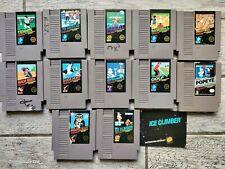 NINTENDO Nes Classic BLACK LABEL lot of 12 games, 5 screw, POPEYE, ICE CLIMBER!