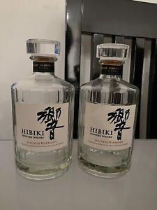 Hibiki Suntory Whisky Japanese Harmony empty Bottle Craft Carafe X 2