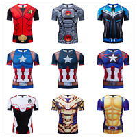 MARVEL DC AVENGERS CAPTAIN AMERICA COSPLAY COMPRESSION PREMIUM RASHGUARD T-SHIRT