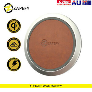 Latest Zapefy 10W Fast Qi Wireless Charger PU Leather Pad For iPhone Samsung