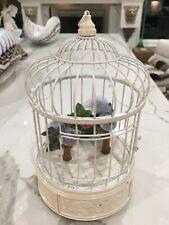 SINGING BIRDS IN METAL CAGE VINTAGE