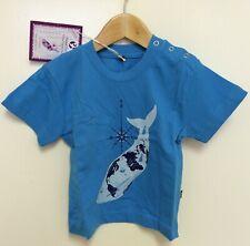 Animal Tails Ethical Organic Fair Blue Whale print blue baby t-shirt 18-24 m